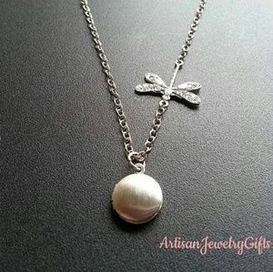 Tiny Sterling Silver Dragonfly Locket Necklace